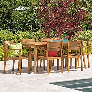 Stanyan | 7 Piece Outdoor Acacia Wood Dining Set | Perfect for Patio | with Teak Finish