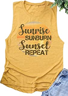 Sunrise Sunburn Sunset Repeat T Shirt Country Music Tank Tops Women Letter Graphic Shirts Summer Vacation Tops