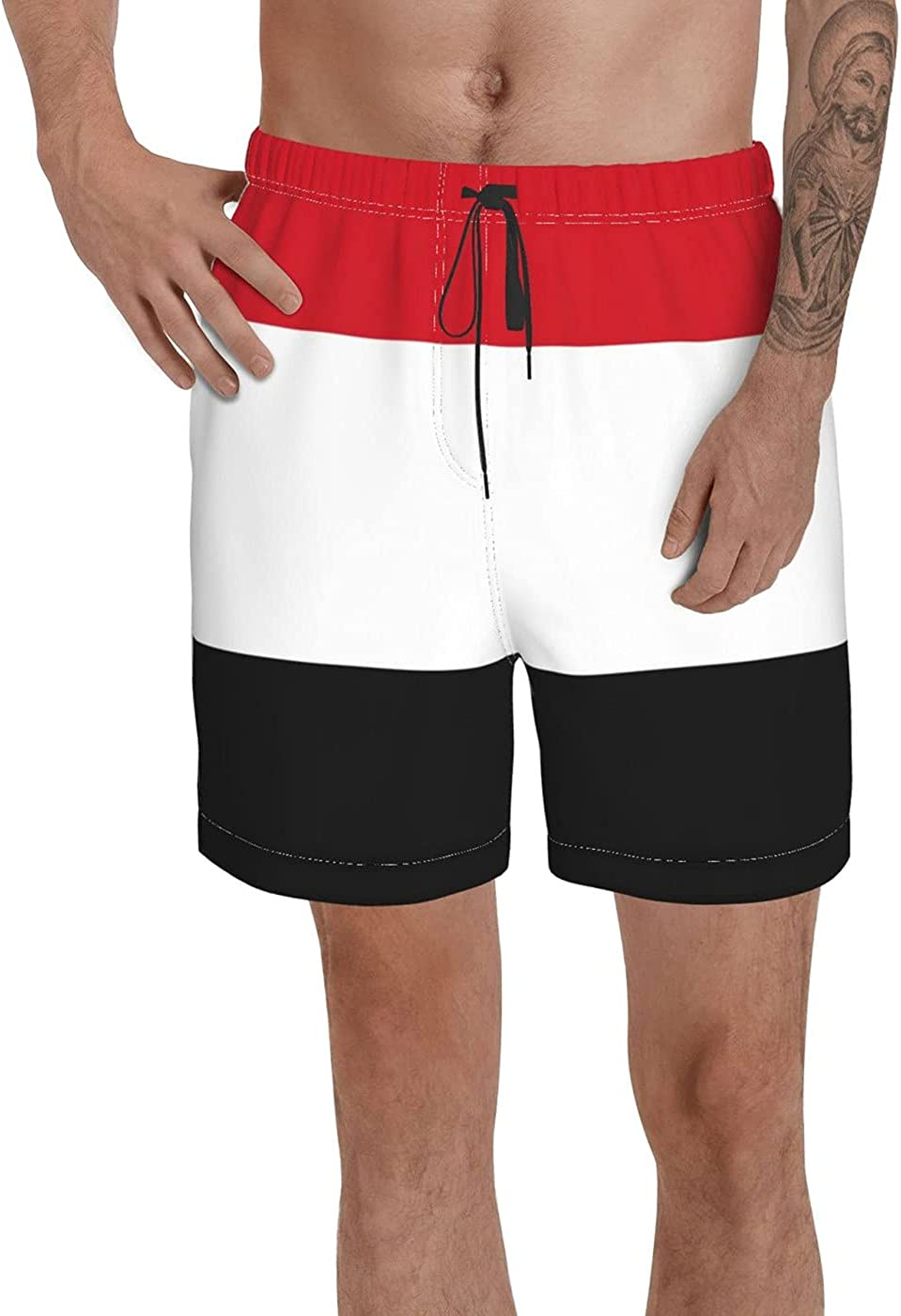 Count Yemen Flag Men's 3D Printed Funny Summer Quick Dry Swim Short Board Shorts with