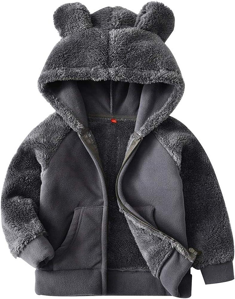 YAGATA Baby Boys Bear Ears Shape Fleece Zip-up Hooded Jacket Clothes Light Sweatshirt