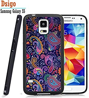 Galaxy S5ケース、Samsung S5ブラックケース、Dsigo TPUブラックフルカバー保護ケース Samsung Galaxy S5用 - ペイズリーレトロヴィンテージアステカ