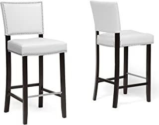 Baxton Studio Set of 2 BBT5112 Bar Stool-White Bar Stool 2-Piece Set, White