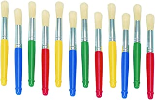 Colorations Plastic Handle Jumbo Chubby Paint Brushes for Kids Painting Multipack (12 Pack)