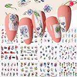 AOXQ 12 Nail Sticker Set Mixed Floral Geometric Nail Art Water Transfer Decal Slider Floral Leaf Manicure Decoration-40