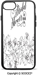 SCOCICI Non-Slip Drop Protection Smart Cell Phone Case Romantic Bride Party with Flowers Buds and Leaves Image Compatible with iPhone 7