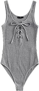 MAKEMECHIC Women's Sleeveless Lace Up Knit Sexy Leotard Bodysuit