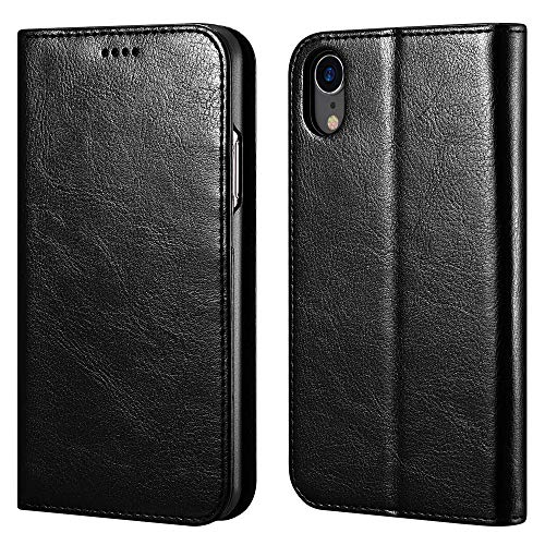 icarercase iPhone XR Wallet Case, Premium PU Leather Folio Flip Cover with Kickstand and Credit Slots for Apple iPhone XR 6.1 Inch (Black)