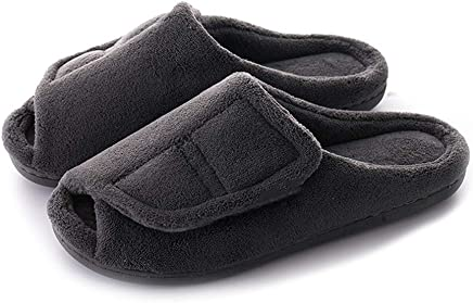 724d478fa4f3 MEJORMEN Women Coral Fleece House Slippers Adjustable Open Toe Bedroom Slip-on  for Swollen Feet