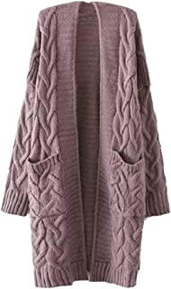 Womens Knitted Sweater Loose Long-Sleeve Pullover Coat Open Front Cardigan