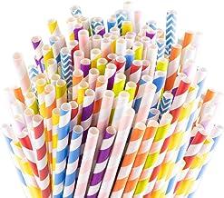 Sangabery 250-Pack Biodegradable Paper Straws - 10 Different Colors Rainbow Stripe Paper Drinking Straws - Bulk Paper Stra...