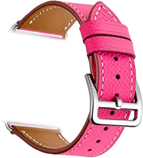 Valkit Compatible Apple Watch Bands 38mm 40mm Genuine Leather Strap Band Bracelet Replacement Wristband with Stainless Steel Adapter Clasp Replacement for Apple iWatch 4 3 2 1, Hot Pink