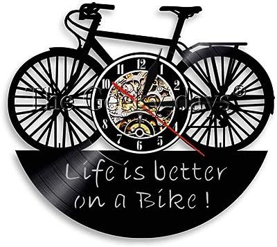 Reloj de pared con registro de vinilo, 1 pieza, ciclo de bicicleta ...