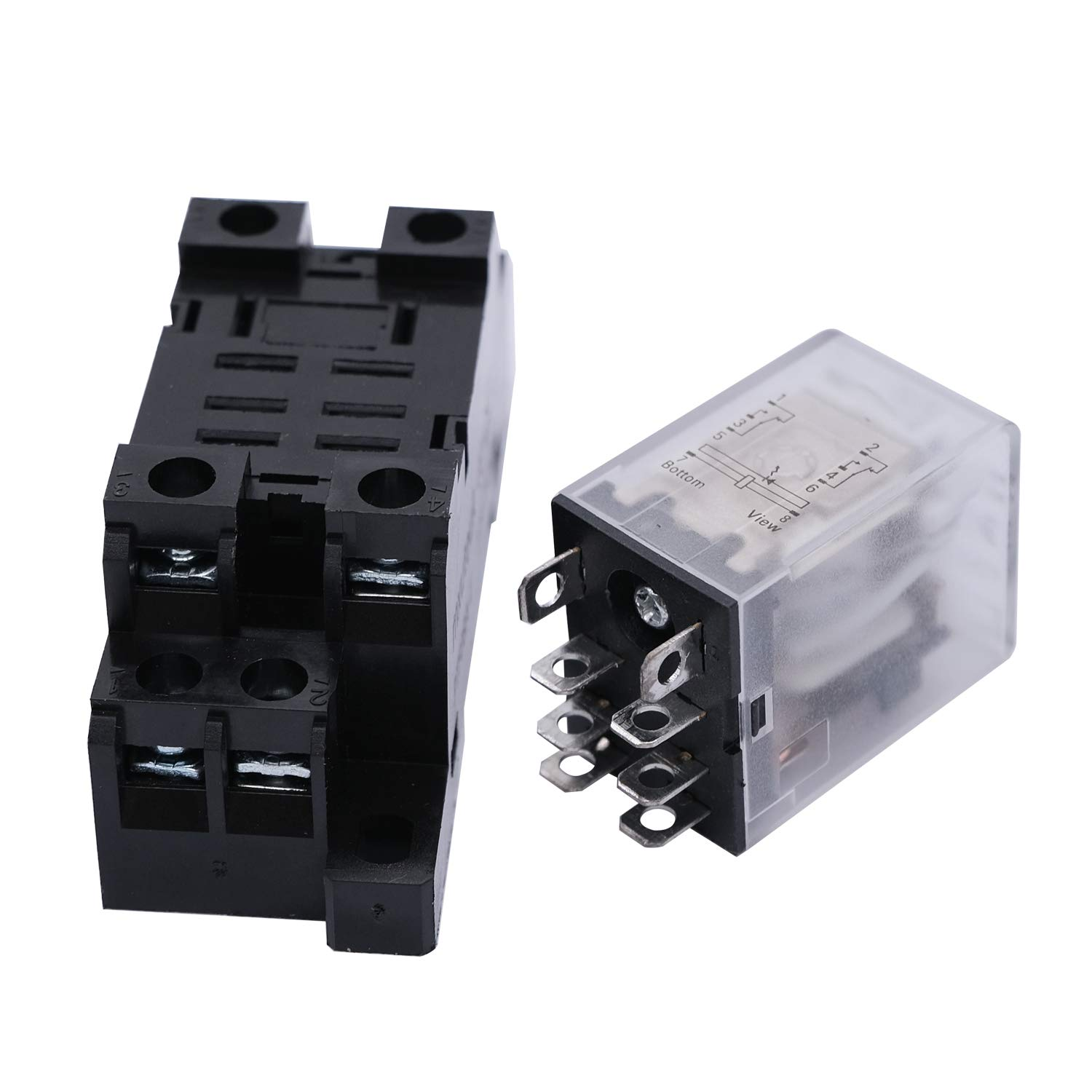 mxuteuk 2pcs HH54P DC 6V Coil 14 Pin 3A 4PDT LED Indicator Electromagnetic Power Relay with DIN Rail Slotted Aluminum with Base