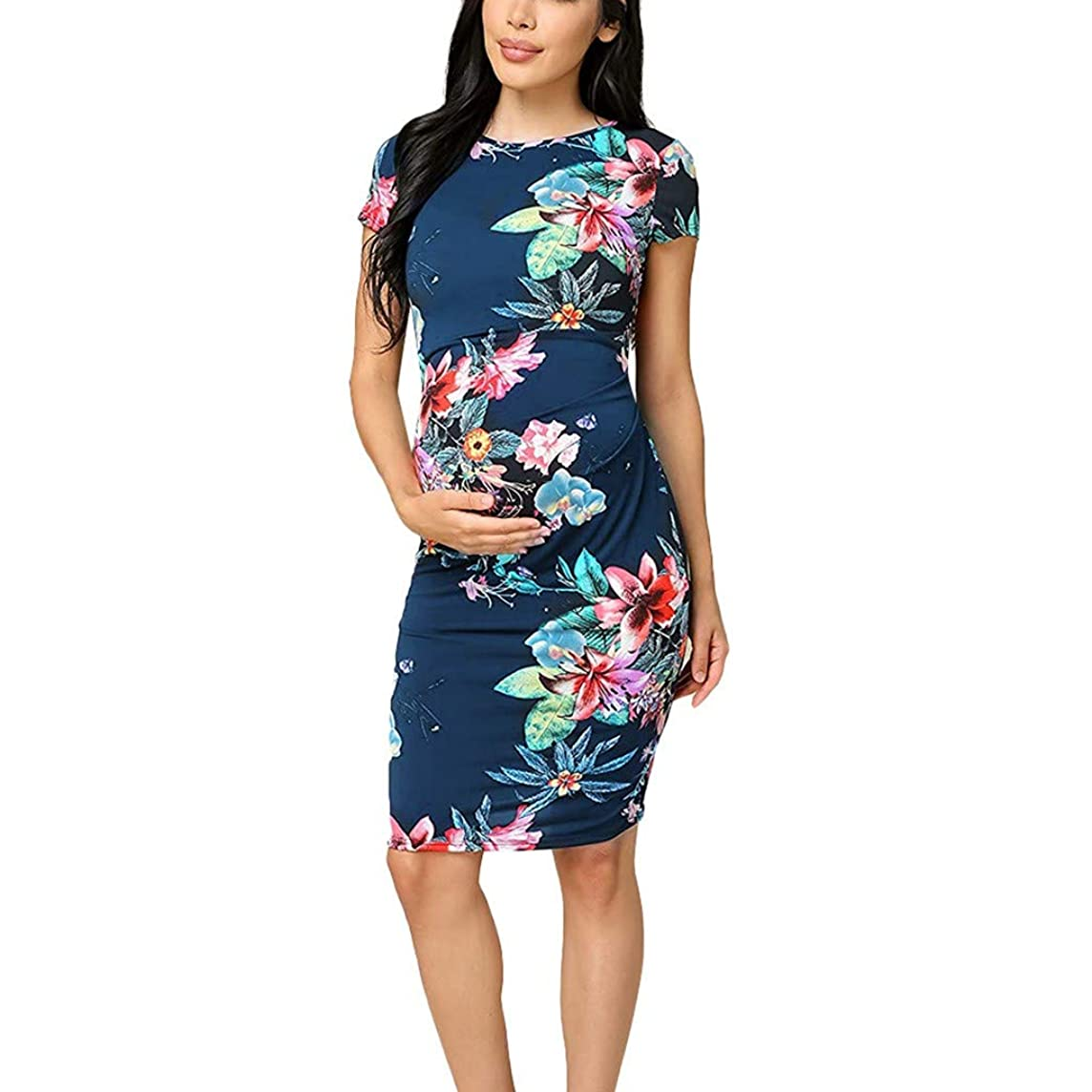 Pregnancy Clothes,Forthery Women's Maternity Bodycon Dress Causual Floral Print Short Sleeve Mama Dress