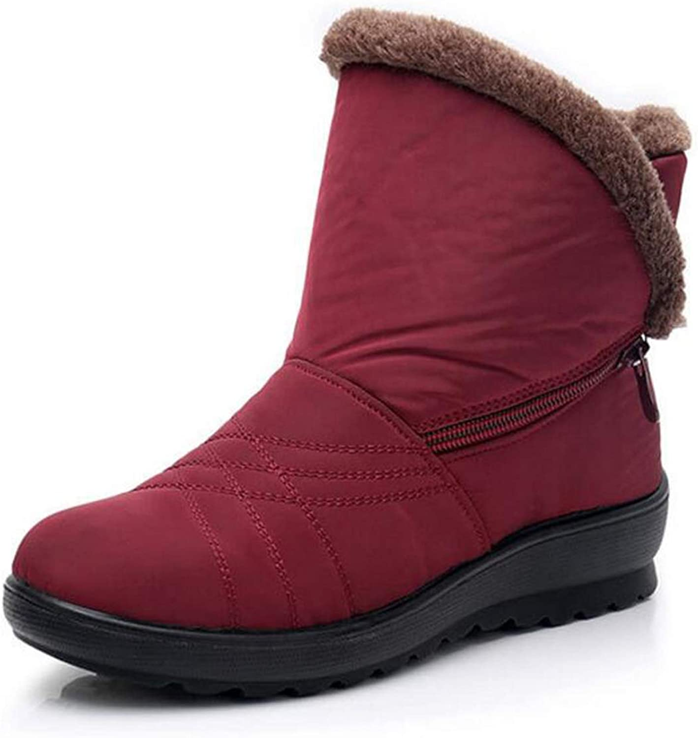 Fmshutp Womens Snow Boots Flock Winter Side Zipper Ankle Booties shoes