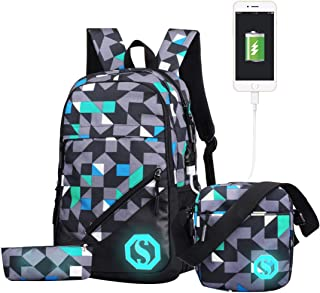 JiaYou Boy Girl Unisex 20L Fashion School Bag Backpack with Florescent Mark 3 Sets/2 Sets (20L, USB ColorF 3 Sets)