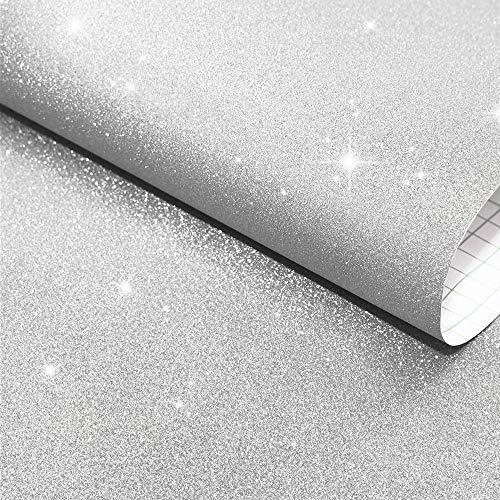 Carta da parati lucida glitterata bronzing Silver Vinile Bling Wallcovering Carta da parati autoadesiva Peel & Stick, carta da parati rimovibile per regali adesivi