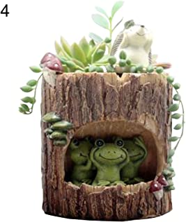Smallwoodicute Ceramic/Plastic Plant Flower Pot,Cute Hedgehog Bear Rabbit Frog Succulent Plant Resin Flower Pot Bonsai Ornament - 4#