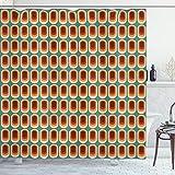ABAKUHAUS Retro Duschvorhang, Vintage Mode-Ethno, Set inkl.12 Haken aus Stoff Wasserdicht Bakterie & Schimmel Abweichent, 175 x 200 cm, Multicolor