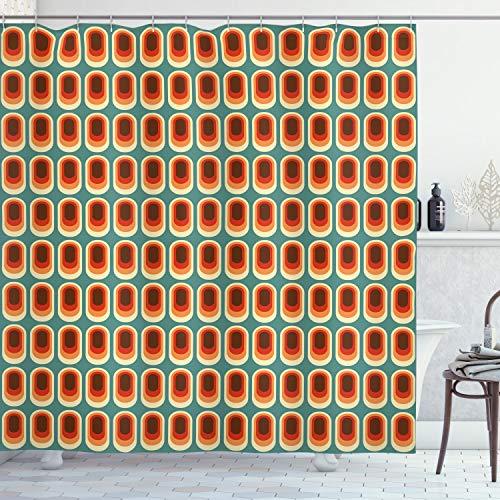 ABAKUHAUS Retro Duschvorhang, Vintage Mode-Ethno, Set inkl.12 Haken aus Stoff Wasserdicht Bakterie und Schimmel Abweichent, 175 x 200 cm, Multicolor