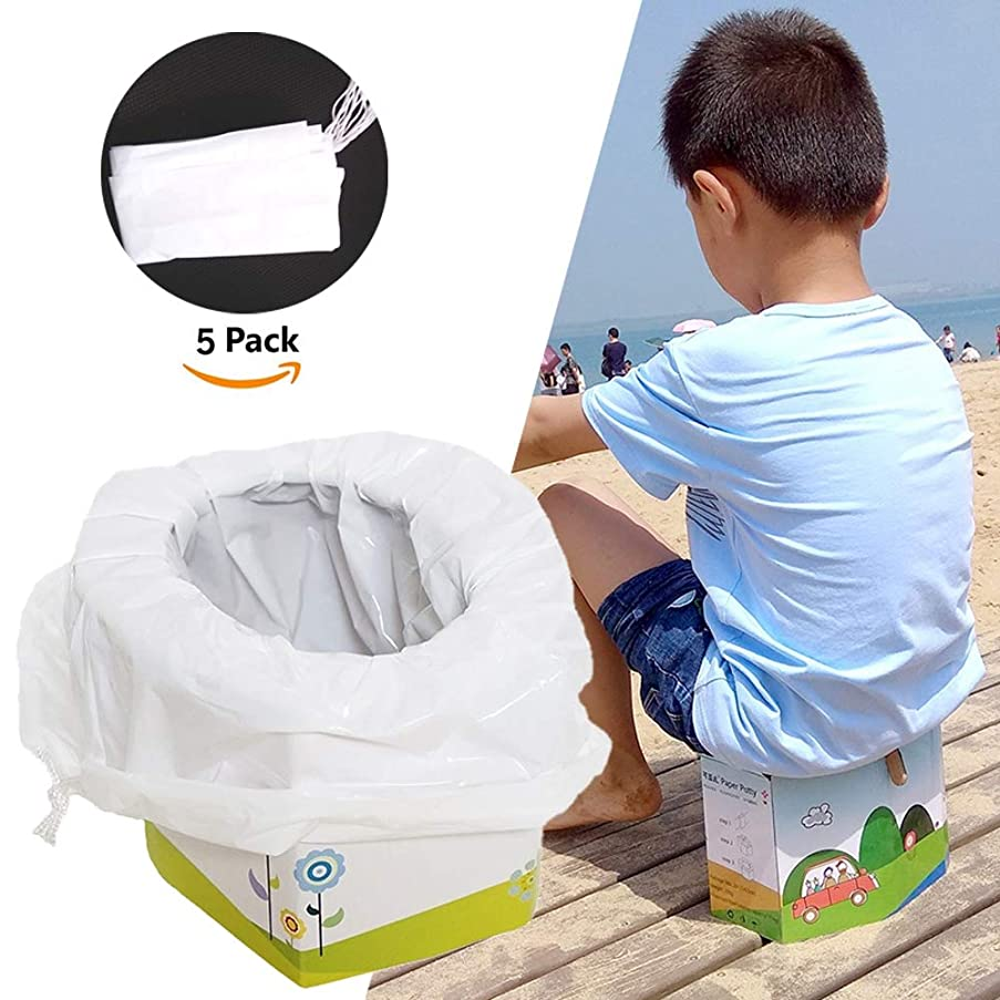 Portable Baby Child Potty Emergency Toilet Foldable Travel Potty with 5 Toilet Seat Bin Bags for Kids Toddler Pee Training Adults Pets Outdoors Camping Car Travel
