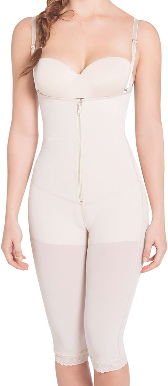 Siluet ExtraStrength Compression Braless Capri Style Minimizer Bodysuit with Latex