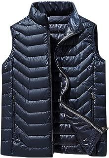 Sleeveless Zipper Vests Jacket Men's Lightweight Water-Resistant Packable Puffer Vest Stand Collar Coat