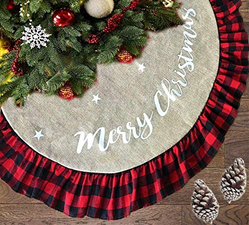 AISENO 48 Inch Christmas Tree Skirt Linen Burlap Buffalo Plaid Edge Decoration for Merry Christmas Party Red and Black Buffalo Christmas Tree Skirt Decorations