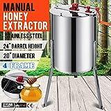 BuoQua Extractor Manual de Miel de 4 Cuadros, Extractor de Miel Colmena de Acero Inoxidable, Herramientas de Extractor de Miel de Alta Velocidad y Seguridad, Máquinas de Cribado de Miel Conveniente