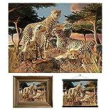 3D LiveLife Lenticular Cuadros Decoración - Clan guepardos de Deluxebase. Poster 3D sin marco de grandes felinos. Obra de arte original con licencia del reconocido artista, David Penfound