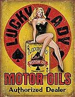 ピンナップガール&オイル缶★LUCKY LADY MOTOR OILS・レトロシリーズ★アメリカンブリキ看板