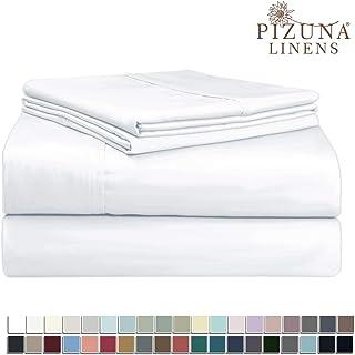 Pizuna 400 Thread Cotton Twin-XL-Sheet Sets, 3pc 100% Long Staple Cotton Twin XL Sheets, Luxurious-Sateen Sheets Deep Pocket fits Upto 15 Inch (100% Cotton White-Bed Sheets Set Twin XL)
