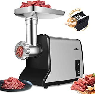 Electric Meat Grinder, ONEISALL Upgrade Stainless Steel Meat Mincer & Sausage Stuffer,【1200W Max】【Concealed Storage Box】 Sausage & Kubbe Kit Included, 3 Stainless Steel Grinding Plates and 1 Blade