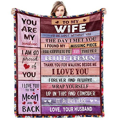 Blanket Gifts for Wife Romantic Anniversary Birthday Gift for Her Love Fleece Throws Blankets Presents for Wife from Husband Personalized to My Wife Utra-Soft Luxury Warm Quilts for Bed Couch Travel