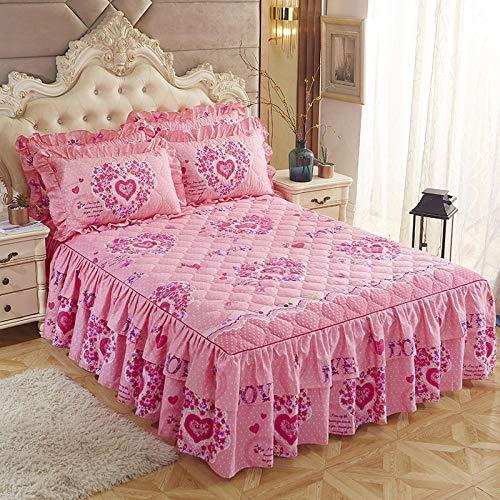 CYYyang Protector de colchón, algodón, poliéster, Hoja de Cama de Encaje de Falda de Cama engrosada-37_150 * 200cm