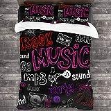 SXCVD 3 Piezas Juego Funda De Diseño Personalizado,Música,Rock,Mp3,Graffiti,Patrón,Ropa de Cama Set 1 Edredón 2 Fundas de Almohada Microfibra jueg(200 * 200cm)