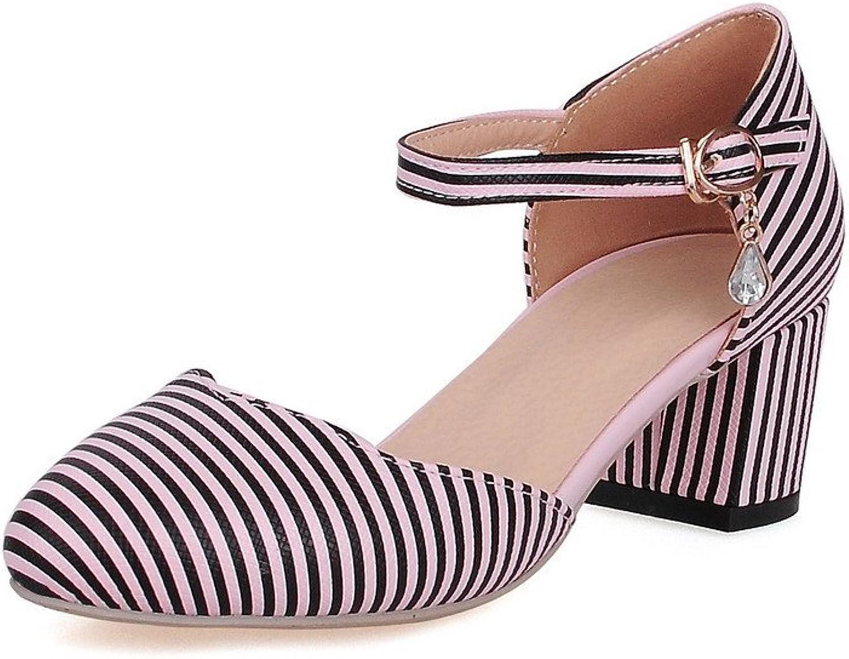 WeiPoot Women's Buckle Round Closed Toe Kitten Heels Pu Stripe Pumps shoes
