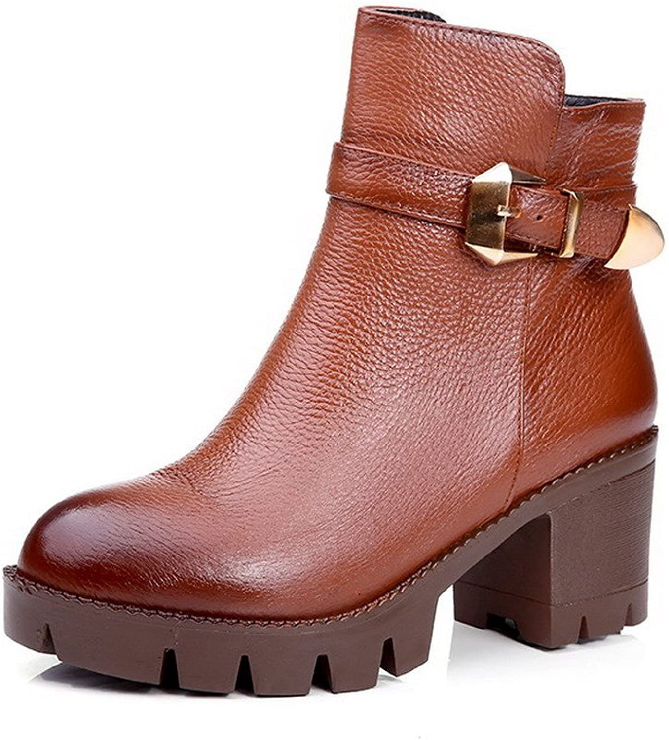 Weenfashion Women's Solid Closed Round Toe Blend Materials Cow Leather Low-top Boots