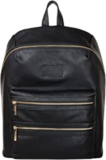 The Honest Company City Backpack, Black | Sturdy Vegan Leather Backpack | Diaper Bag | Changing Pad with Zippered Pocket | Unisex Backpack | Stylish and Functional
