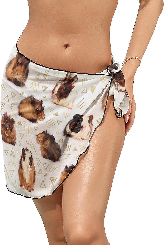 Women Beach Wrap Skirts Guinea Pig Personalized Bikini Swimwear Beach Cover Up