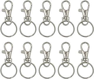 WINOMO 20 uppsättningar med stora avtagbara vridbara hummerlås nyckelringar 25 mm nyckelringar (silver)