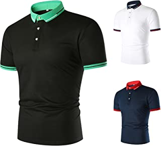 Men's Polos Short Sleeve,Polyester/Cotton Knitted Collar and Hemmed Sleeve Golf Tennis T-Shirt