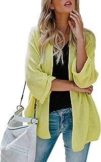 Monzocha Women Long Sleeve Cardigans Oversized Open Front Basic Casual Knit Sweaters Coat