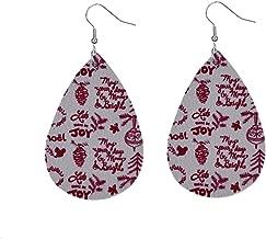 Bravetoshop Women Leather Earrings Lightweight Faux Leather Leaf Dangle Earrings Teardrop Earrings Jewelry Girls Gifts