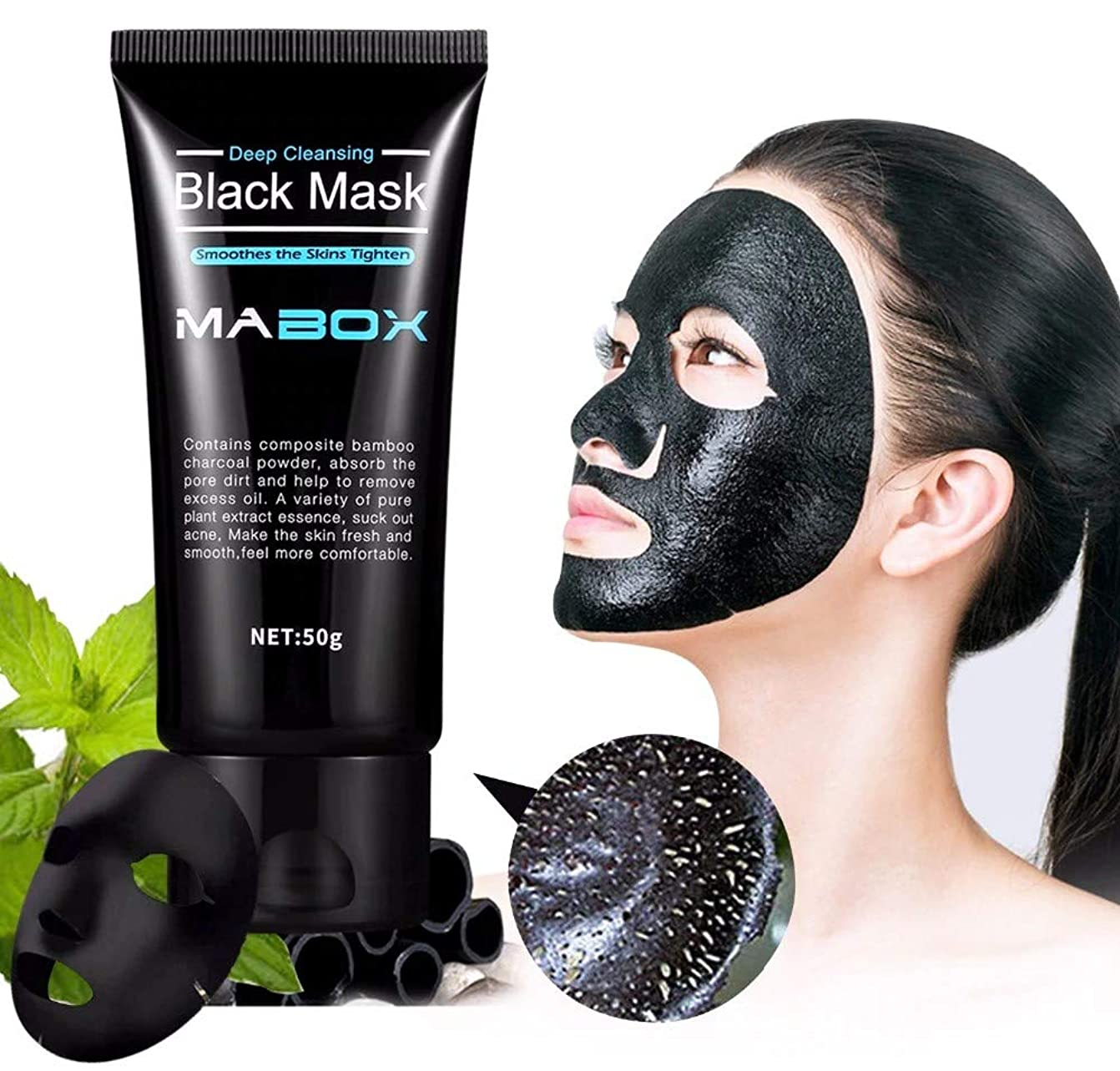 周術期神聖要件Mabox Black Mask Peel Off Bamboo Charcoal Purifying Blackhead Remover Mask Deep Cleansing for AcneScars Blemishes WrinklesFacial