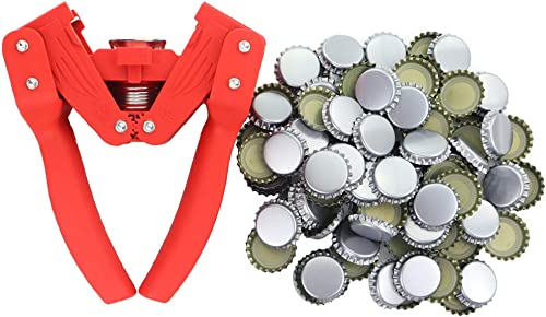 Capsuleuse de bouteille avec 120capsules - pour bouteilles de bière faite maison ou bouteilles de limonade en verre ...