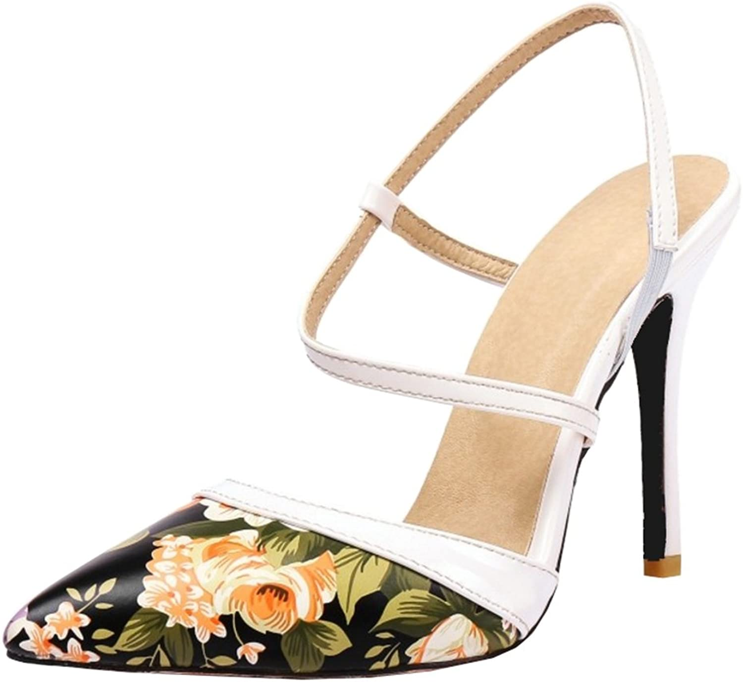 Onewus Flower Printed Sandals with Thin Heel Dressy shoes with Plus Size Available