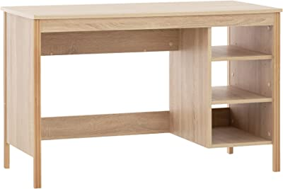 COMIFORT Bureau d'ordinateur – Table de bureau avec 3 trous ouverts pour le stockage, conçu en Espagne avec finition en mélamine, bureau pour jeunes – Cerredo Sonoma