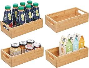 mDesign Caisse de Rangement avec poignées (Lot de 4) – boîte en Bois pour Les Aliments comme épices, Les Noix ou Les Boute...