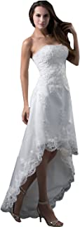 High Low Wedding Dresses Beach Hi lo Lace A line Bridal Prom Gowns